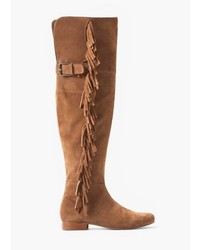 Mango Outlet Over The Knee Suede Boots