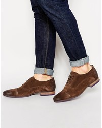 Asos Brand Oxford Shoes In Brown Suede With Toe Cap