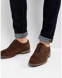 Asos Oxford Shoes In Brown Suede With Binding Detail