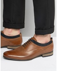 Asos Oxford Shoes In Tan Leather With Navy Suede Detail