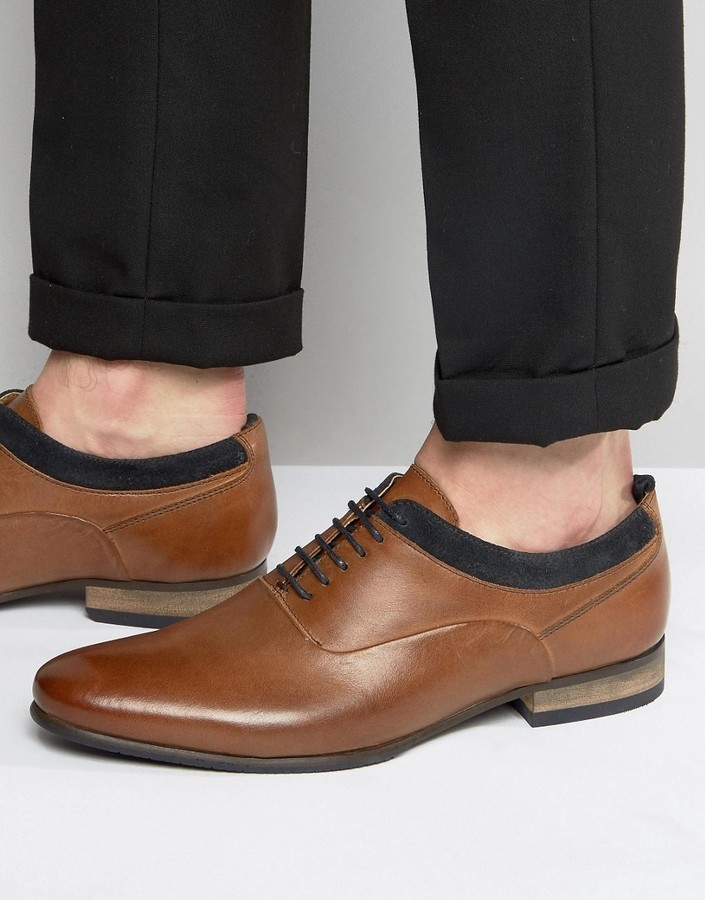 pretty cool popular stores casual shoes Asos Oxford Shoes In Tan Leather With Navy Suede Detail, $43 ...