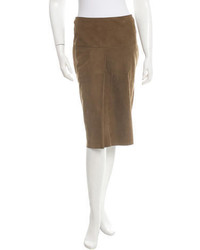 Hermes Herms Suede Pencil Skirt