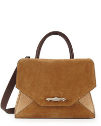 Obsedia top handle small suede satchel bag brown tan medium 181625
