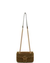 Gucci Tan Velvet Mini Gg Marmont 20 Bag