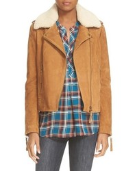 Joie Paulette Suede Moto Jacket With Removable Shearling Collar