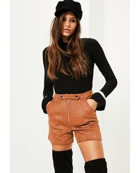 Tan double button front bonded faux suede shorts medium 3714230