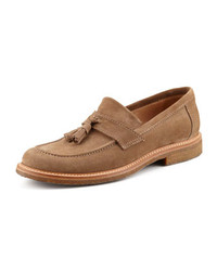 Suede tassel loafer tan medium 242750