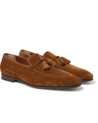 Santoni Suede Tasseled Loafers