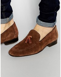 Red Tape Tassel Loafers In Brown Suede