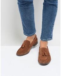 Silver Street Tassel Loafers In Tan Suede