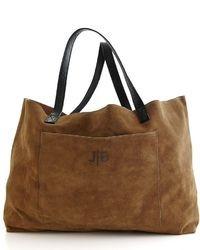 Brown Suede Tote Bag