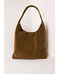 Missguided Tan Faux Suede Tote Bag