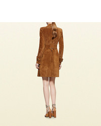 0cf1812a9 Gucci Suede Belted Trench Coat, $4,300 | Gucci | Lookastic.com