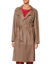 Micro perforated leather trench coat medium 96327
