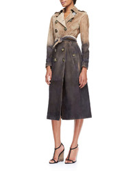 Prorsum degrade printed suede trench coat stone medium 247396