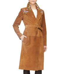 Prorsum embroidered suede wrap trench coat sepia brown medium 247259