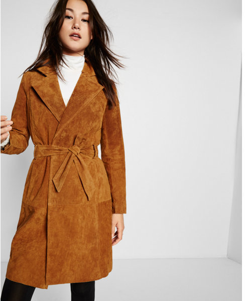 enjoy discount price 100% quality best choice Tan Genuine Suede Trench Coat