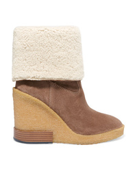 Tod's Zeppa Para Med Suede Wedge Ankle Boots