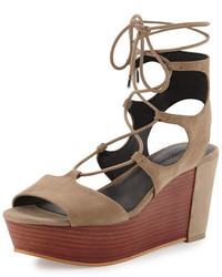 Rebecca Minkoff Cady Lace Up Platform Wedge Sandal Taupe