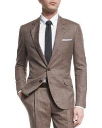 Brunello Cucinelli Wool Blend Textured Two Piece Suit Brown