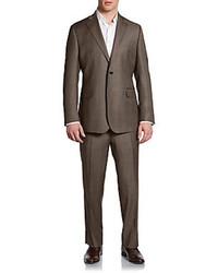 Saks Fifth Avenue BLACK Classic Fit Windowpane Wool Silk Suit