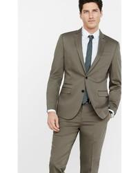 Men's Brown Suit, Light Blue Long Sleeve Shirt, Beige Suede Tassel