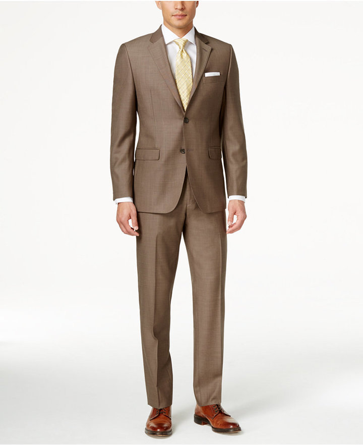 Lauren Ralph Lauren Slim Fit Medium Brown Pindot Suit | Where to ...