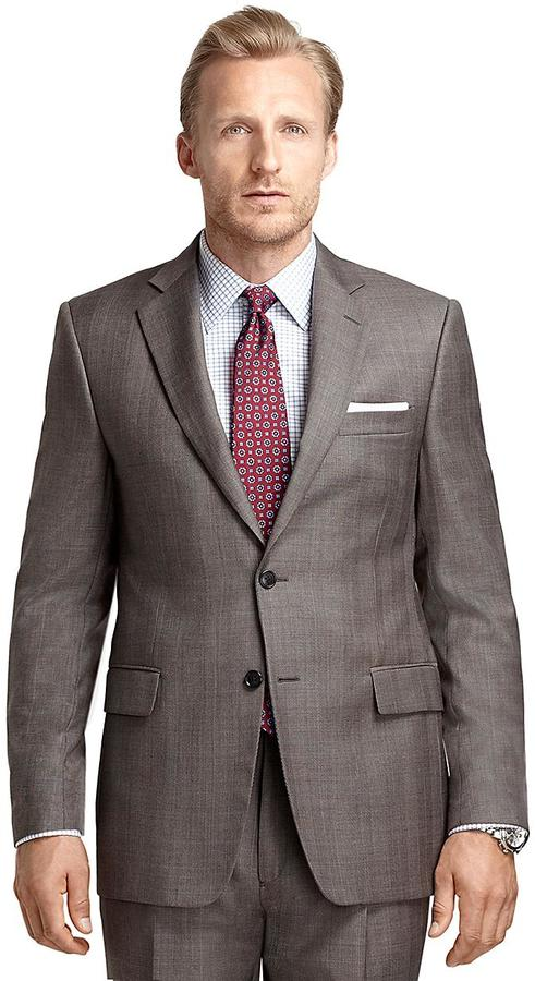 Brooks Brothers Madison Fit Plaid Brown Plaid With Blue Deco 1818 ...