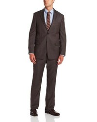 Nathan brown plaid two button side vent suit medium 91496