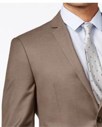 Perry Ellis Portfolio Medium Brown Sharkskin Extra Slim Fit Suit ...