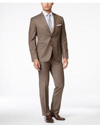 Perry Ellis Portfolio Medium Brown Sharkskin Extra Slim Fit Suit