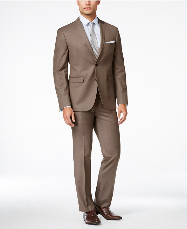 Perry Ellis Portfolio Medium Brown Sharkskin Extra Slim Fit Suit ...