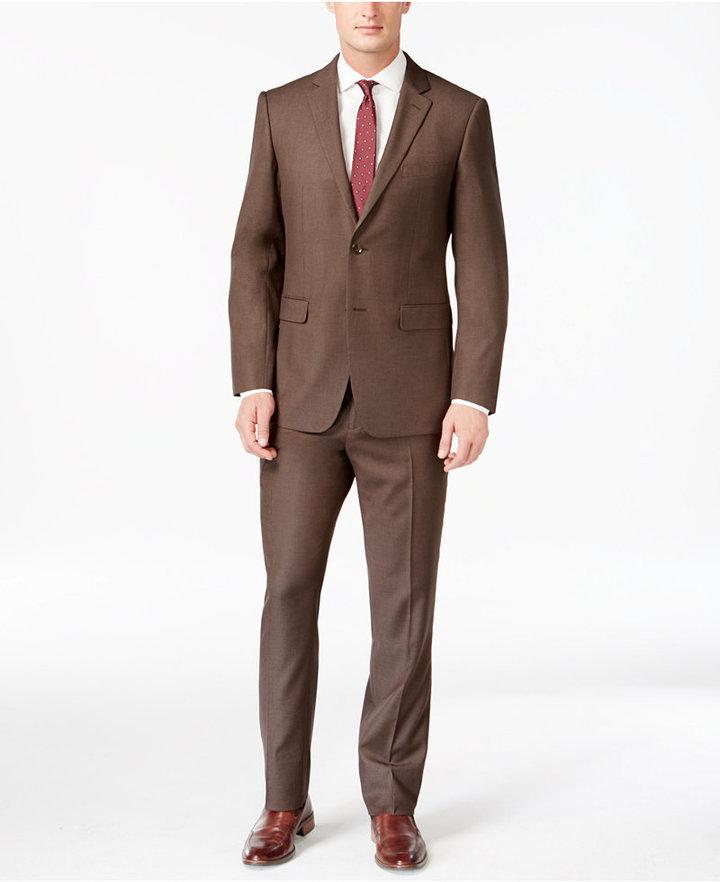 Perry Ellis Portfolio Slim Fit Brown Sharkskin Suit | Where to buy ...