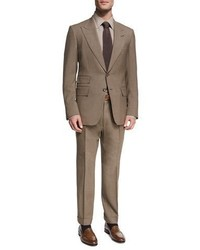 Shelton base mlange wool silk peak lapel two piece suit brown medium 3714384
