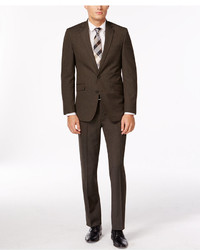 Kenneth Cole Reaction Slim Fit Brown Sharkskin Suit