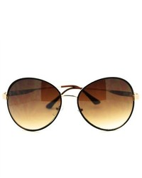 106Shades Retro Oversized Round Aviator Sunglasses Brown