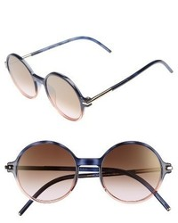 Marc Jacobs 52mm Round Sunglasses Black Brown Gold Mirror