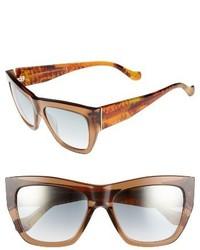 Balenciaga 56mm Cat Eye Sunglasses Blonde Havana Gradient Smoke