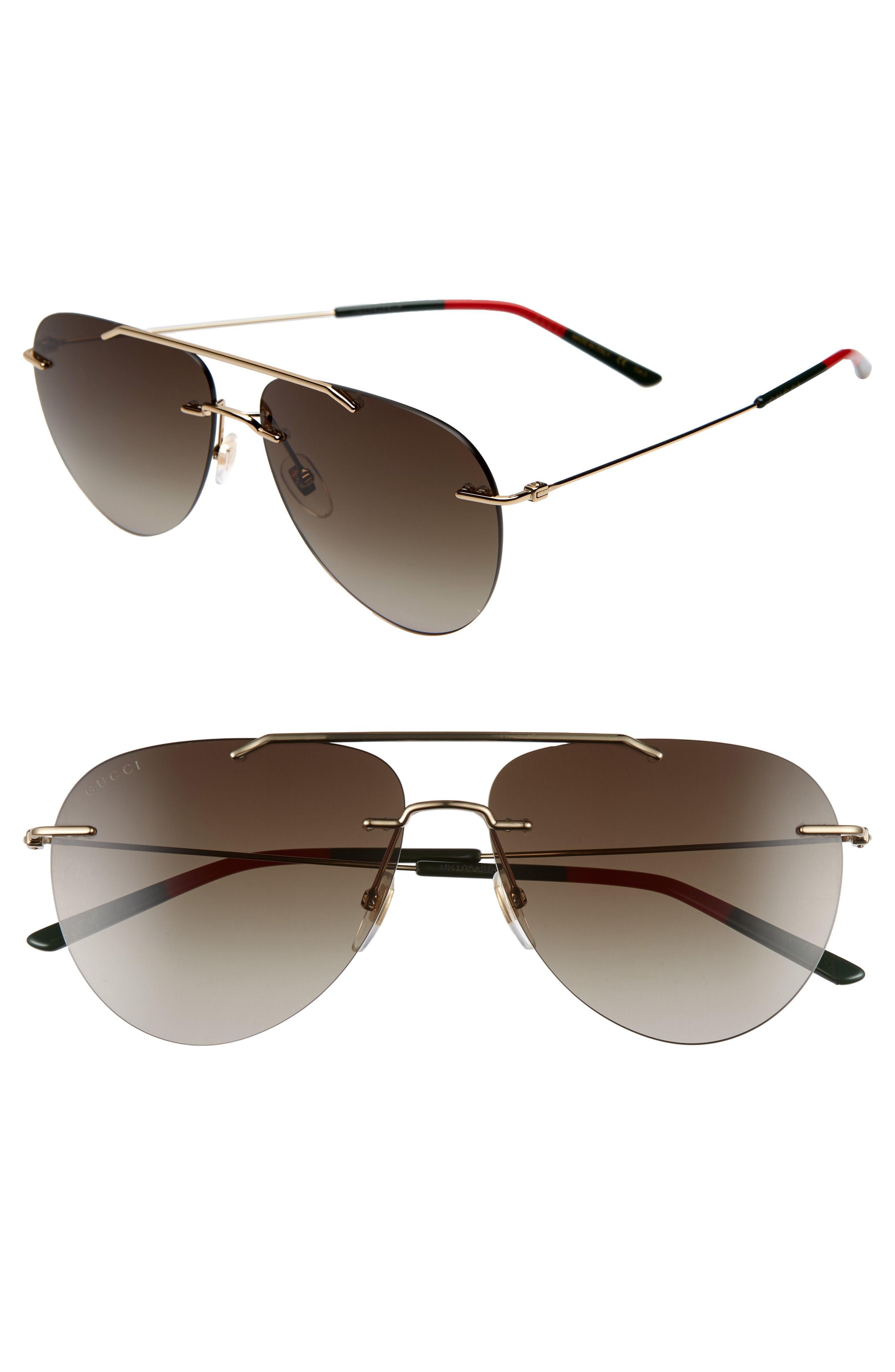 f4433b729982 Gucci 60mm Rimless Aviator Sunglasses, $435   Nordstrom   Lookastic.com