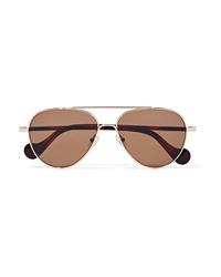 Moncler Aviator Style Gold Tone Sunglasses