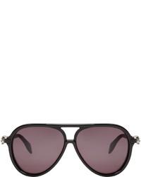 Alexander McQueen Black Acetate Skull Aviator Sunglasses