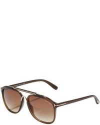 Tom Ford Cade Plastic Aviator Sunglasses Havana Brown