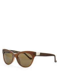 The Row Cat Eye Leather Arm Sunglasses Walnut