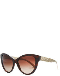 Burberry Check Embossed Cat Eye Sunglasses Dark Tortoise