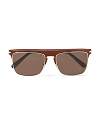 Loewe D Frame Gold Tone And Textured Leather Sunglasses