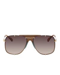 Gucci Gold And Brown Bold Bridge Aviator Sunglasses