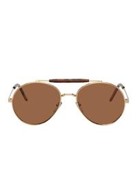 Marni Gold Metal Round Sunglasses
