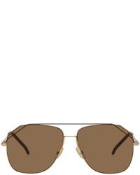Fendi Gold Modified Aviator Sunglasses