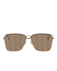 Fendi Gold Rectangular Logo Sunglasses
