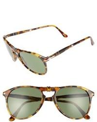 Persol Icona 55mm Polarized Folding Sunglasses Madre Terra Green